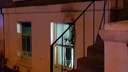 The fire-damaged flat. Picture: Marc Beishon