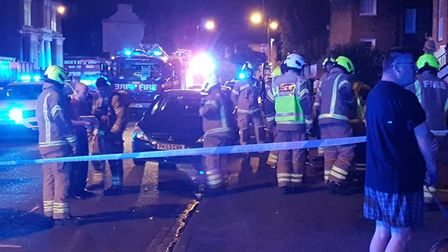 Emergency services at the scene. Picture: Marc Beishon