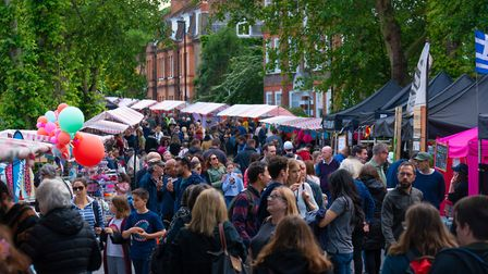 Crowds throng along South Grove at Fair in the Square. Picture: Siorna Ashby