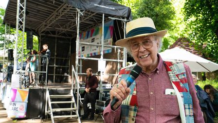 Master of Ceremonies John Plews ran the show on the Fair in the Square's main stage. Picture: Siorna