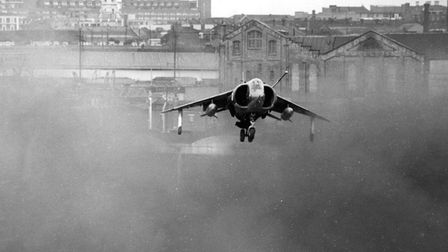 Tom Lecky-Thompson's Harrier leaves London in its wake. Picture: Tangmere Military Aviation Museum