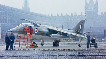 The Harrier GR.1 flown by Squadron Leader Tom Lecky-Thompson on the westbound leg of the 1969 Daily