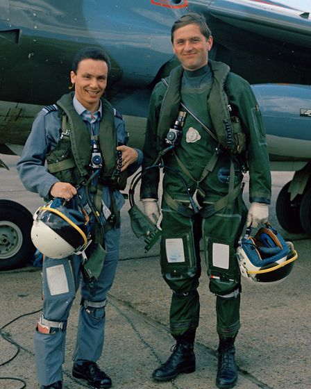 The two RAF Harrier pilots who participated in the 1969 Daily Mail Transatlantic Air Race. Tom Lecky