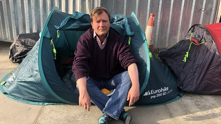 Richard Ratcliffe wakes up outside of the Iranian Embassy during his hunger strike. Picture: LINDA G