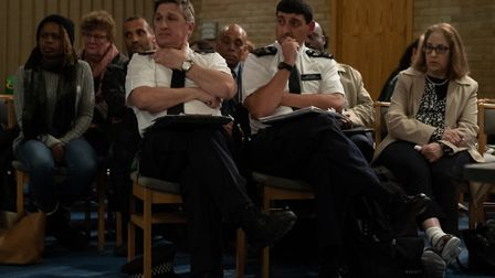 Muswell Hill police at the community meeting held to discuss rising knife crime at Muswell Hill Meth