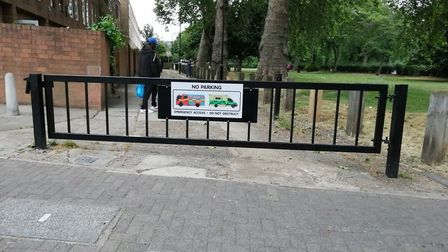 "The ""emergency access"" gate in Smalley Close which the ambulance driver didn't have a key to"