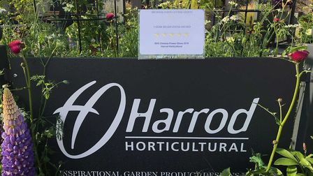 The Harrod Horticultural five star trade award, received at the Chelsea Flower Show. Picture: Harrod