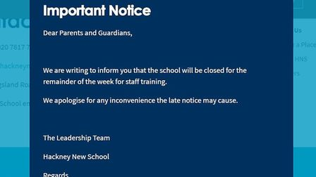 "The school apologised for the ""late notice"" given to close the whole school down for the week for ""t"