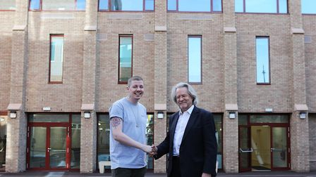 Professor Green and Professor Anthony Grayling officially opening the new school buildings in 2016.