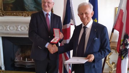 Anthony Newton with the Austrian ambassador to the UK, Michael Zimmermann. Picture: Anthony Newton
