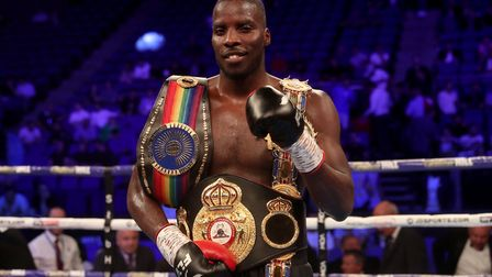 Lawrence Okolie celebrates victory in the WBA Continental Championship fight at the O2 Arena, London