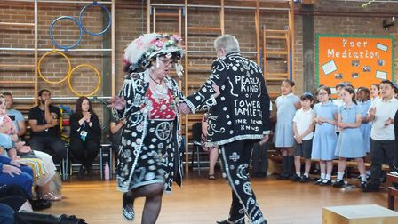 "Simon Marks Primary school treated to performance of ""Lambeth Walk"" by Tower Hamlet's Pearly King an"