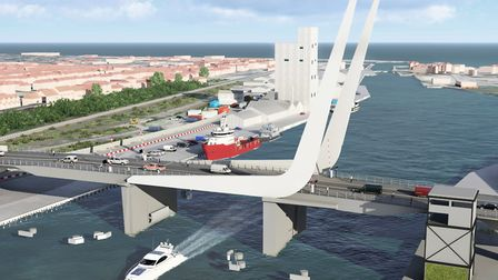 The proposed design for the Lake Lothing Third Crossing, pictured with the bridge down. Picture: WSP.