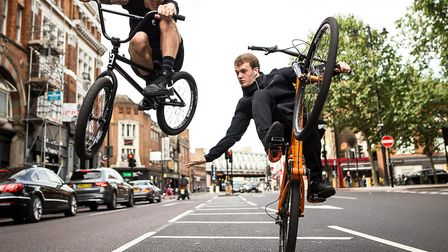 """""""Jake100"""", a wheelie expert, with Ryan Taylor, a professional BMX rider. Picture: The Wickers Charit"""