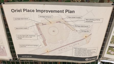 The plans for Oriel Place, which include benches, lighting and the removal of the gate. Picture: Har