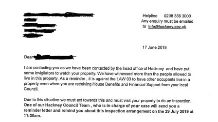 This letter has been sent to two addresses in Hackney.
