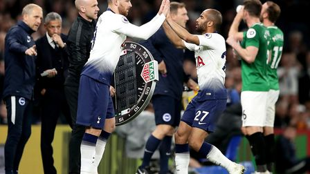 Tottenham Hotspur forward Vincent Janssen (left) comes on for the substituted Lucas Moura during the