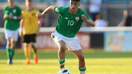 Tottenham Hotspur's young forward Troy Parrott in action for Republic of Ireland at the European Und