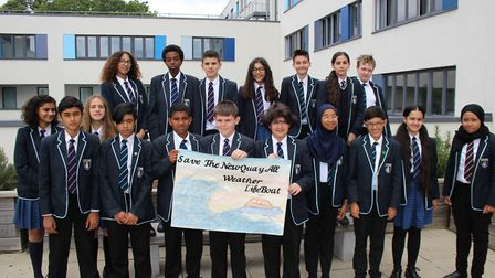 A group of year 8 pupils from Harris Academy in St John's Wood, who have been learning about plans t