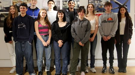 The group of Fortismere Year 12 pupils whose work is being exhibited at the Peltz Gallery. Picture: