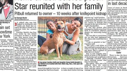 Article from 2012. Missing Dog Star was reunited with the Smith family.