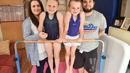 Gymnast Aaliyah Manning from Reydon with her mother Chloe, brother Yasha and father Daniel. Picture: