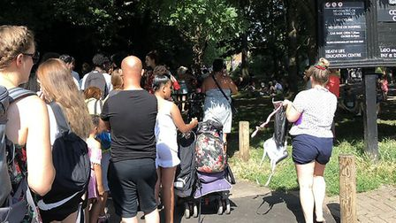 The queue for Parliament Hill Lido, which was closed by Heath bosses at 10.20am because of high dema