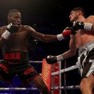 Lawrence Okolie in action against Mariano Angel Gudino at the O2 Arena, London.
