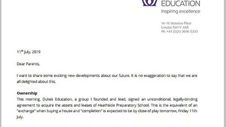 A letter was sent out to Heathside parents on Thursday, July 11 informing them of the decision.