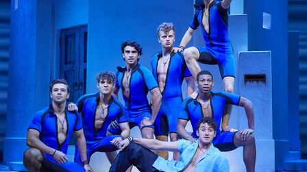 Cameron Burt as Sky (front centre) in MAMMA MIA! pictures Brinnkhoff-Moegenburg