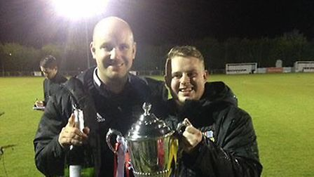 Alec Simm (left) and Jordan Harris (right) after winning the Essex Junior Cup in 2016/17 with May &