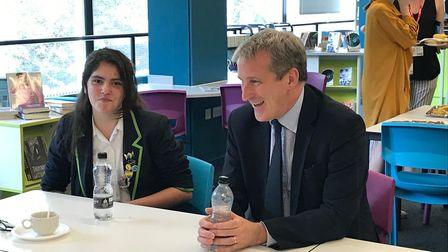 Ellie Marie Bunn with education minister Damian Hinds.