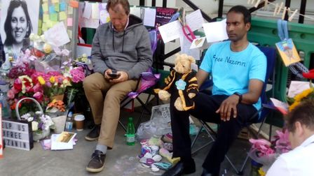 Daren Nair and Richard Ratcliffe at Richard's hunger strike. Picture: Stephen Quentin