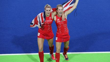 Great Britain's Lily Owsley (left) and Shona McCallin celebrate beating Netherlands in the Women's G