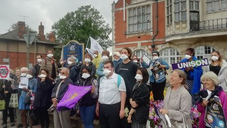 Protesters outside of Hendon Town Hall. Picture: Simon Allin, LDRS