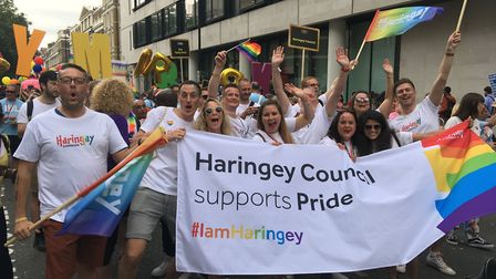 Haringey councillors and staff march through the streets in support of LGBTQ+ rights. Picture: Harin