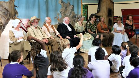 Cast of Immediate theatre's George and the Dragon answer school kids questions. Picture: Gbenga Olop