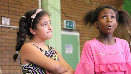 School kids performing the sequel to George and the Dragon after a few days of rehearsals. Picture: