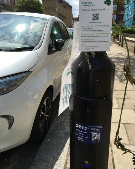 Simple socket EV charging points in Hackney. Picture: Roy Chacko