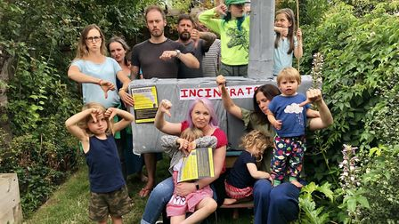 Parents and children from the Stop the Edmonton Incinerator Rebuild campaign. Picture: STOP THE EDMO