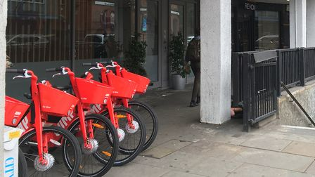 Dockless bikes outside Finchley Road station. Picture: Roy Chacko
