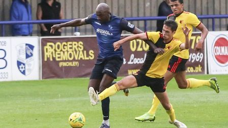 Marvin Morgan in action for Wingate & Finchley against Watford's under-23s (pic: Martin Addison).