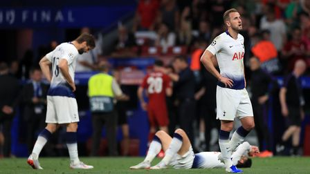 Tottenham Hotspur's Harry Kane reacts after the final whistle of the Champions League Final against