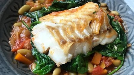 Pan fried cod with chorizo bean stew a la Lisa Cowling. Picture: Lisa Cowling.