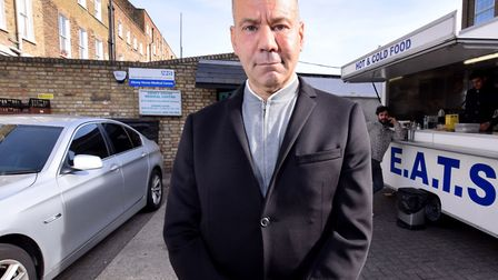 Dr Luke Salih outside the Abney House Medical Centre during a row over a burger van that was set up