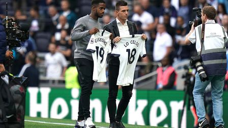 New signings Ryan Sessegnon (left) and Giovani Lo Celso are paraded to fans at Tottenham Hotspur Sta