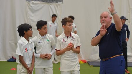 Chairman of the MCC World Cricket Committee Mike Gatting gives tips to youngsters
