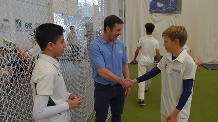 MCC Secretary and Chief Executive Guy Lavender meets local youngsters