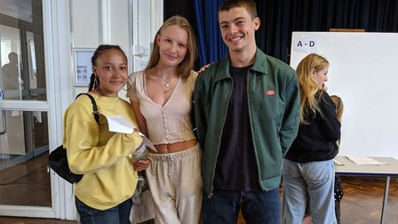 Camden School for Girls pupils Mia Burgher, Jemima Darling and Felix Myhill are all celebrating A-le