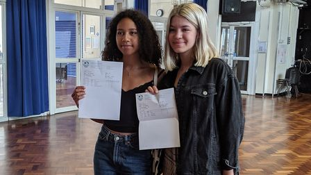 Ella Williamson and Lola Monaghan are both off to art school from Camden School for Girls. Picture: